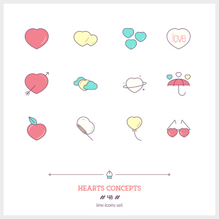 Color line icon set of Hearts icons set. Love, Romantic and Valentines Day objects. Icons for web and mobile app.