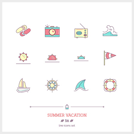 Color line icon set of vacation summer travel, summer holiday, objects and tools elements. Travel interface icons, sea, ice cream, map.  icons. Vector illustration.  icons vector illustration Illustration