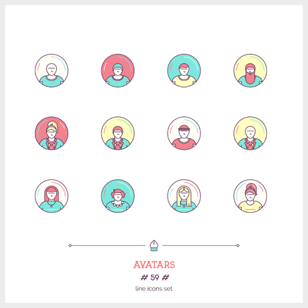 earnest: Color line icon set of people avatars objects. Avatars signs and user icons. Logo icons vector illustration