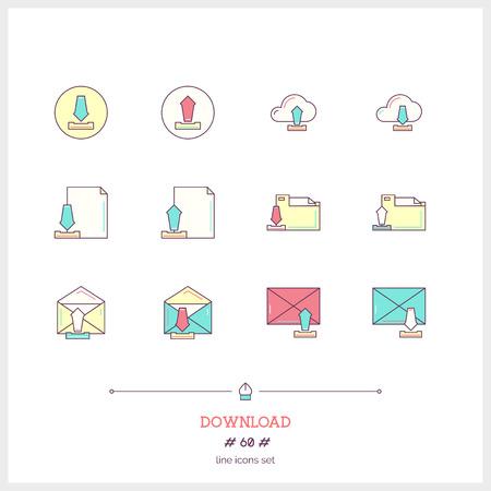 icono de la línea de color conjunto de objetos de descarga de documentos. Trabajar con documentos e iconos de navegación. ilustración vectorial iconos