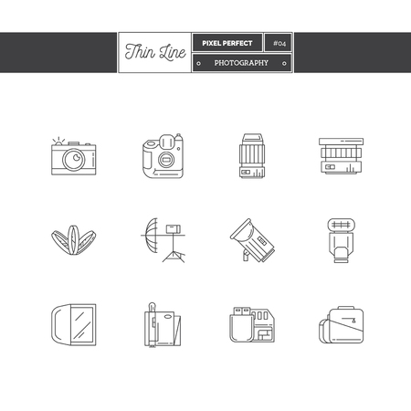 retouch: Thin line icon set of photography objects and tools elements. Photo equipment  icons. Vector illustration.  icons vector illustration