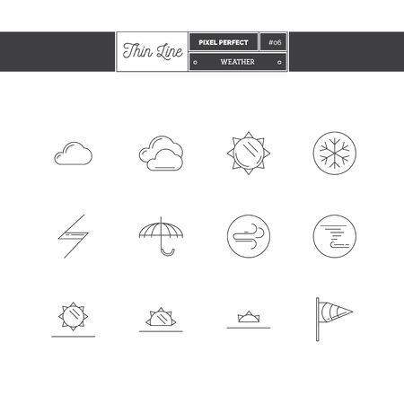 atmospheric pressure: Thin line icon set of local current weather conditions. Including temperature icons. Vector illustration.  icons vector illustration Illustration