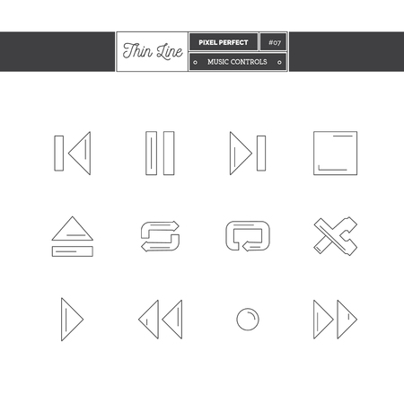 Thin line icon set of modern minimalistic media player user interface objects and tools elements.  icons.  icons. Vector illustration.  icons vector illustration Illustration