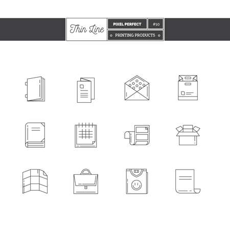Thin line icon set of printing objects elements. Print industry, typographic industry  icons. Vector illustration.  icons vector illustration