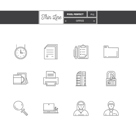 Thin line icon set of office equipment, objects and tools elements.  icons. Vector illustration.  icons vector illustration Illustration