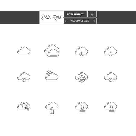 Thin line icon set of cloud service objects and tools elements. Cloud service icons, information protect, downloading files, save files and search information.  icons. Vector illustration.