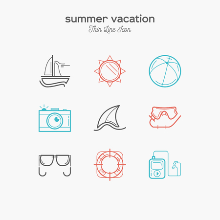 recreation: Recreation, summer vacation, tourism, thin line color icons set, vector illustration