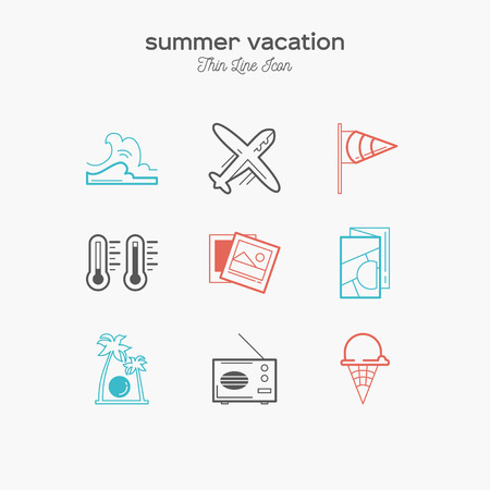 Summer vacation, recreation, tropical, tourism, thin line color icons set, vector illustration Illustration