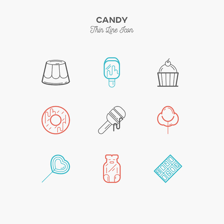 honey cake: Desserts, honey, jelly bear, cake, candy, chocolate thin line color icons set, vector illustration Illustration