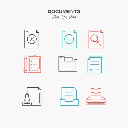 Documentos canta conjunto de iconos de color de línea establecido, ilustración vectorial delgada