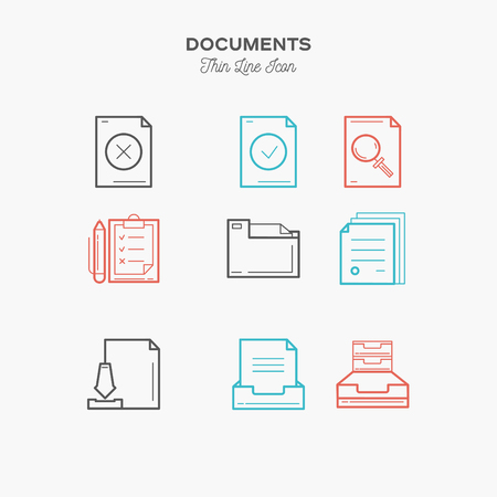 sings: Documents sings set thin line color icons set, vector illustration Illustration