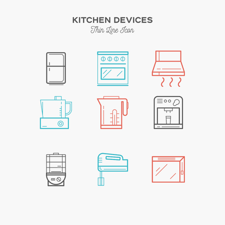 foster: Kitchen equipment, refrigerator, mixer, foster, thin line color icons set, vector illustration
