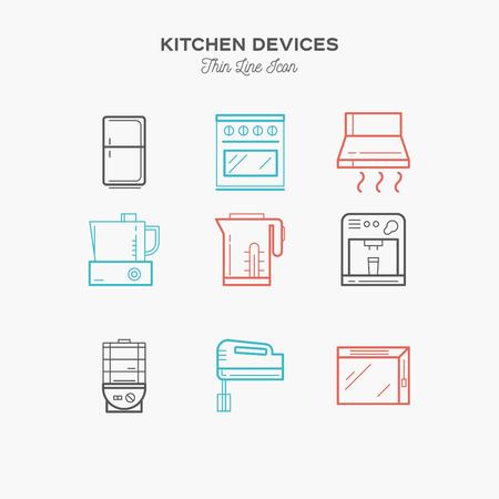 matériel de cuisine, réfrigérateur, table de mixage, d'accueil, icônes de couleur de ligne ensemble mince, illustration vectorielle