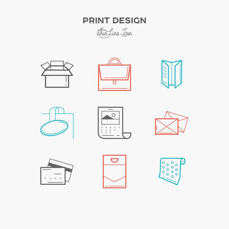 matter: Flat line icons of Print design products, from pamphlet and booklet to plastic card, calendar, pattern, envelopes, bags and package. Printing industry icons set. Illustration