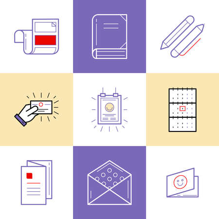 matter: Flat line icons of Print design products, from pamphlet and booklet to greeting card, calendar, folder, flayers, labels, souvenirs, bags and package. Printing industry icons set.