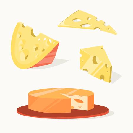 치즈 개체를 설정합니다. 벡터 일러스트 레이 션