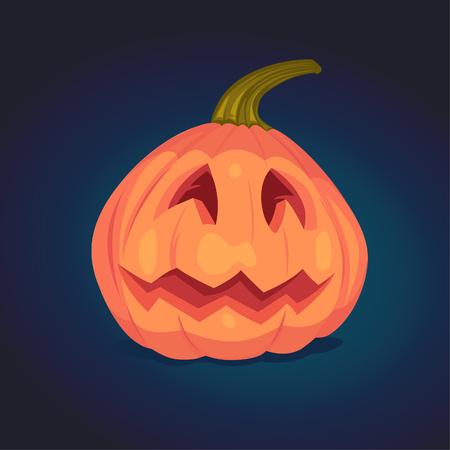 candle: Spooky Halloween pumpkin. Vector illustration.