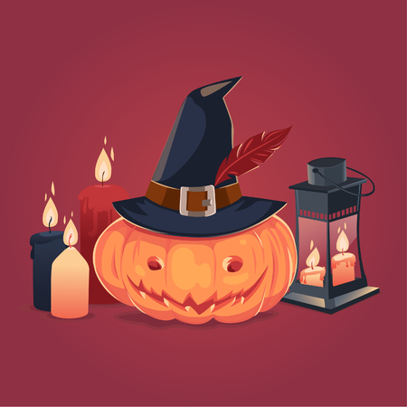 candle: Happy Halloween card, background, poster. Vector illustration.