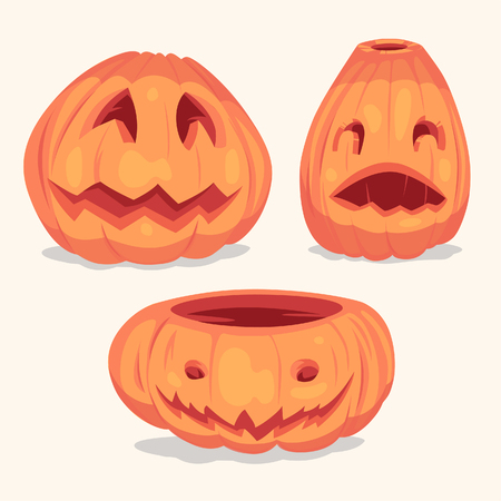 Spooky Halloween pumpkins objects. Vector illustration.