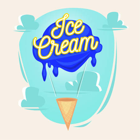 paintings: Ice cream as balloon illustration with lettering. Concept vector illustration.