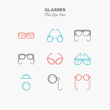 glasses, sunglasses, lenses, monocle and more, thin line color icons set, vector illustration