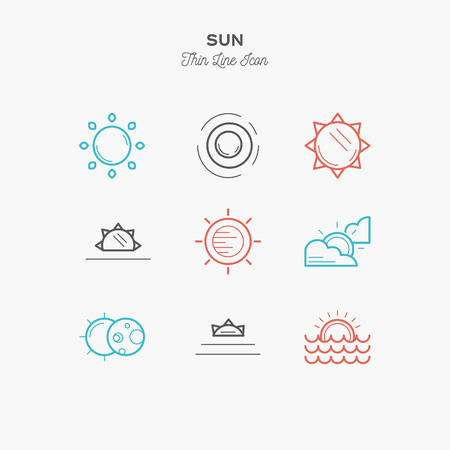 sun, sunrise, sunset, solar eclipse and more, thin line color icons set, vector illustration Illustration
