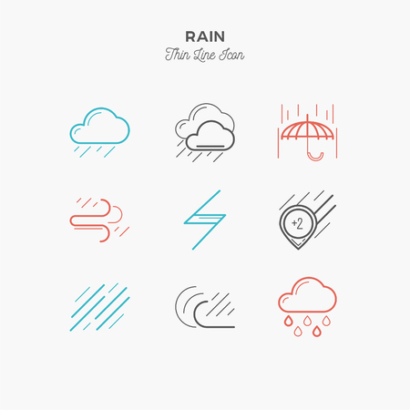 rain, downpour and more, thin line color icons set, vector illustration