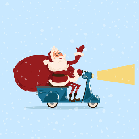 Santa goes with gifts on a moped. Фото со стока - 87701671
