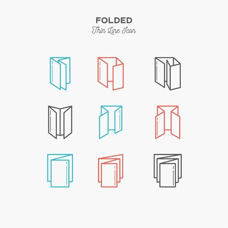 접힌 된 개체의 색 선 아이콘 집합입니다. 채점표 소책자, 인쇄물 디자인, 집안 물체 인쇄. 로고 아이콘 벡터 일러스트 레이션 일러스트