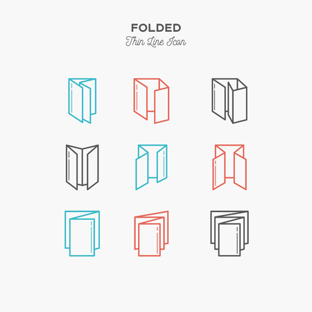 Color line icon set of Folded objects. Scoring scheme booklets, print design, printing house objects. Logo icons vector illustration Reklamní fotografie - 87970868