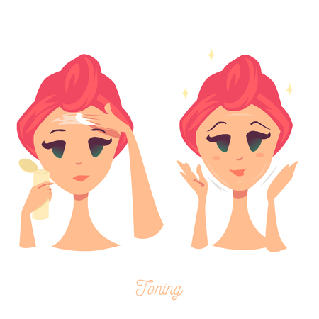Steps how to apply facial lotion. Isolated illustrations set.
