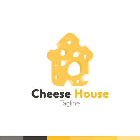 Cheese House Logo, Restaurant logo, food and cooking logo, vector logo template. Иллюстрация