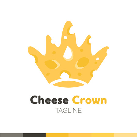 Cheese Crown Logo, Restaurant logo, food and cooking logo, vector logo template. 向量圖像