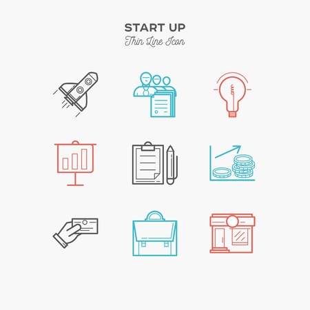 Start up, business, sucsess, marketing thin line color icons set, vector illustration