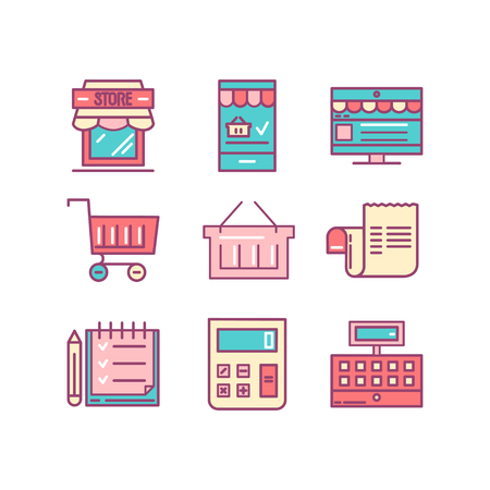 Shopping, retail, delivery, gift card, discount and more, thin line color icons set, vector illustration
