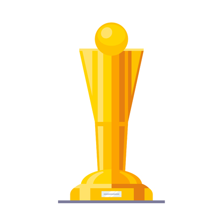Shining golden cup award prize with gold pedestal. Modern flat style vector illustration isolated on white background. Illustration