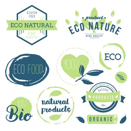 Fresh, organic, gluten free, 100% bio, premium quality, locally grown, healthy food natural products, farm fresh stickers. Vector menu organic labels, food products packaging bio emblems set.