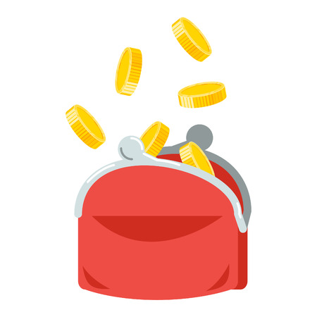 Coin rain to a purse. Flat style vector illustration.