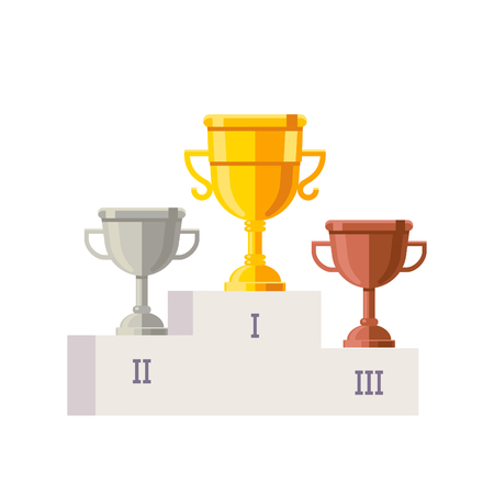 White empty winner podium template with place numbers on it and rewards. Golden, silver and bronze championship rewards. Flat style vector illustration.