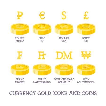 World Currency Signs And Coins Big Set Symbols Of Money And