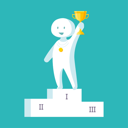 Vector illustration of a white man proudly standing on the winning podium holding up winning trophy.