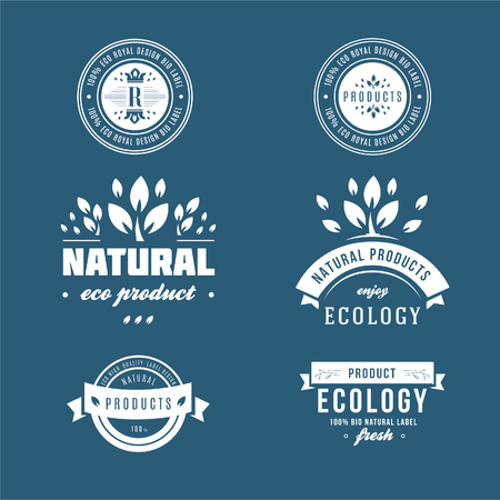 Collection of stickers and badges for natural and organic products Stock Illustratie