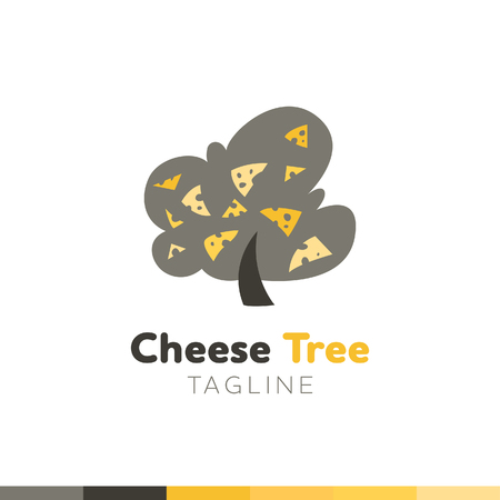 Cheese Tree Logo, Restaurant logo, food and cooking logo, vector logo template.