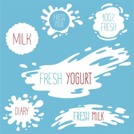 Milk, yogurt or cream splash blot vector set. Drink element, splashing template illustration