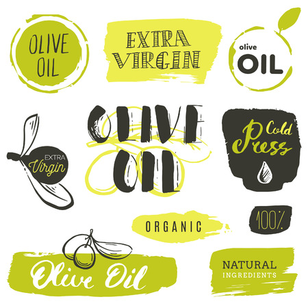 Vector hand lettering olive production logos or signs. Retro sketched extra virgin oil illustrations set for farm or cosmetics produce, packaging badges, tags, cafe, stores design etc. Ilustração