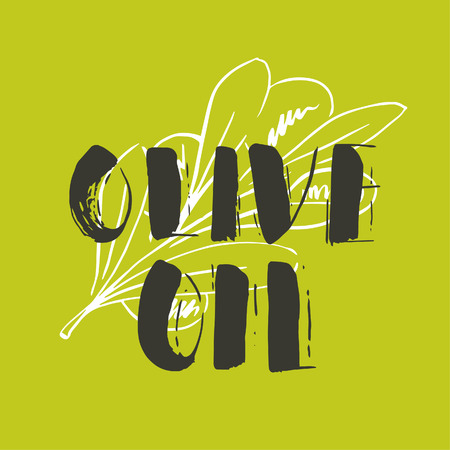 Vector hand lettering olive production logos or sign. Retro sketched extra virgin oil illustrations set for farm or cosmetics produce, packaging badges, tags, cafe, stores design etc.