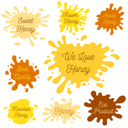 Honey splash set of labels. Splashes and drops collection. Vector illustration