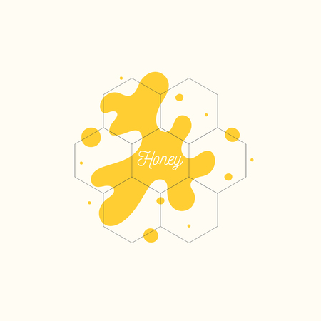 The template for the products of the apiary. Stylish vector poster for bee honey. 版權商用圖片 - 101035223