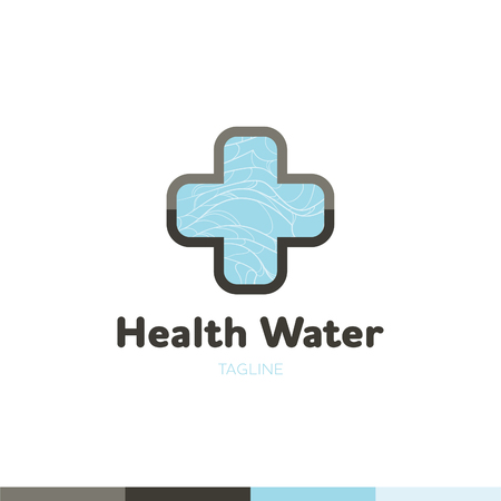 Water company aqua mineral logo with blue waves isolated vector illustration Illustration