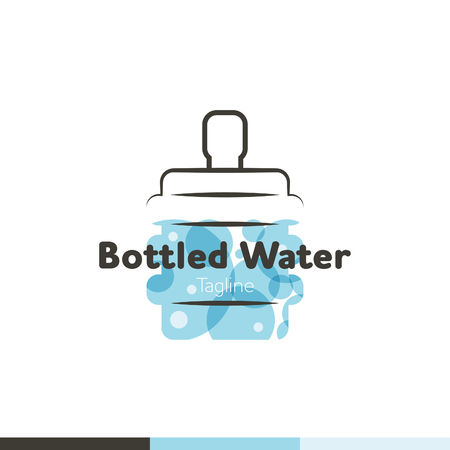 Water symbol logo design template icon. Logo with a bottle of bottled water. May be used in ecological, medical, chemical, food and oil design